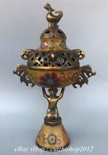 "12"" Old Chinese Cloisonne Bronze 2 Beast Ear Phoenix People incense burner"