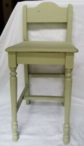 ANTIQUE Child's CHAIR Adorable Solid WOOD painted Celery Green