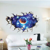 3D Outer Space Wall Stickers Home Decor Mural Art Removable Galaxy Wall Decal US