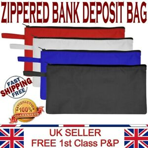 LTG Bank Deposit Cash Zip Bag Quality Multi purpose Pouch Coin Taxi Polyester