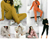 Womens Chunky Knitted High Roll Neck Top Bottom Lounge Wear Tracksuit Set