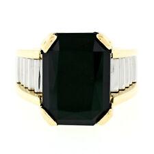 Vintage Unisex 18k Gold & Platinum Large Rectangular Black Onyx Step Design Ring