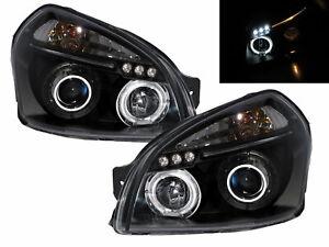 TUCSON JM MK1 04-09 SUV 5D LED Halo Projector Headlight Black for HYUNDAI LHD