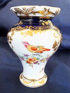 """Antique Porcelain Birds of Paradise Vase 3.75"""""""
