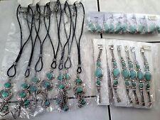 Bulk Whole sale fashion jewelery turquoise blue necklace earring bracelet 12sets