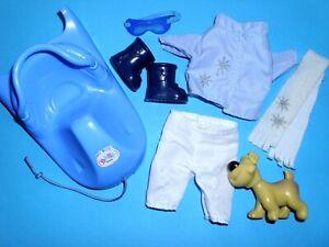 %***Original Mini Baby Born Kleidung für 14cm Größe mit Schlitten+Hund***%