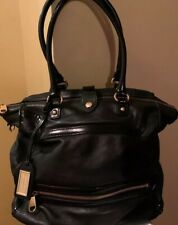 Badgley Mischka ~Women's Black With Patent Leather Trimming Hobo Shoulder Bag