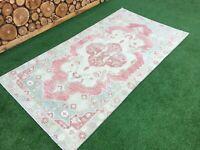 4'2''x7'10'' Vintage Turkish Rug,Oushak Large Runner Rug,Antique Ushak Carpet