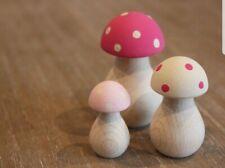 Toadstool Mushroom Wooden Pink & Cream Hand Painted