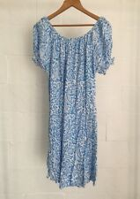 Off The Shoulder / Short Sleeve Boho Blue White Pattern Top OR Dress Approx 18