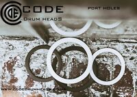 """Code 5 """" inch White Port Hole Bass Kick Drum Head protector adhesive stick on"""