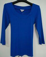 M&Co Petite Cobalt Blue Jersey Top T Shirt Size 12 Back Ties, 3/4 Sleeve BNWT