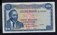 KENYA  20  SHILLINGS 1973  PICK # 8d  VF.