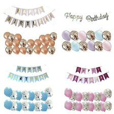 17PC HAPPY BIRTHDAY BUNTING BANNER CONFETTI BALLOONS DECORATIONS GIRL BOY