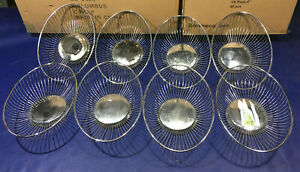 LOT of 8 Chrome Metal Wire Oval Baskets 11 x 8 food bread warmer chafer sterno