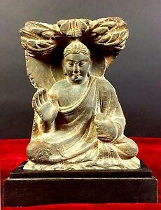 BUDDHA. SCHIST CARVED. GRECO-BUDDHIST STYLE. GANDHARA. AFGHANISTAN. S. II DC (?)