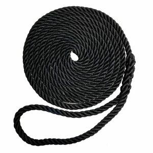 "Robline Premium Nylon 3 Strand Dock Line 1/2"" x 15' Black 7181963"