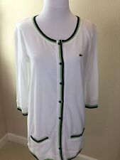 NEW With Tags Women's White Lacoste Cardigan Cotton Sweater Size 8