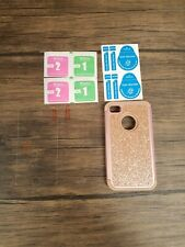 Phone Case w/ Screen Protector for iPhone 4G, Rose Gold, Glitter [H143]