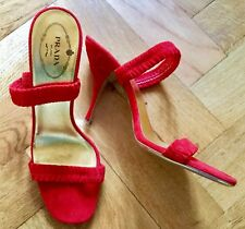 PRADA RED SUEDE SANDALS SHOES GOLD SOLE SIZE 5 (38) WORN ONCE INSIDE EXCELLENT