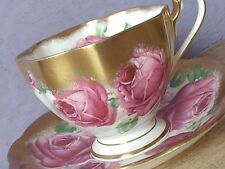 Vintage 1950's Queen Anne pink roses gold English bone china tea cup teacup
