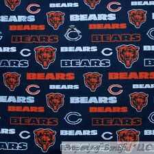 "Chicago Bears 45/""  WIDTH  SOLD BY THE YARD C437 NFL PRINT COTTON FABRIC"