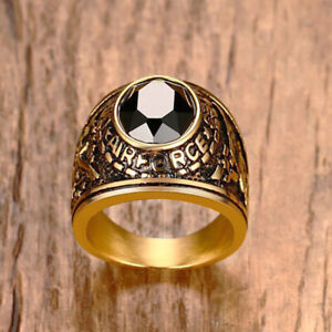Men's Jewelry Ring Stainless Steel Army Air Force Eagle Ring Black Agate Inlaid