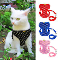 Bling Padded Cat Dog Harness Leash Set Adjustable Kitten Vest Traction Belt