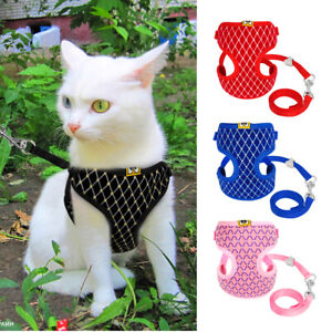 Bling Soft Mesh Cat Dog Harness and Lead Leash Breathable Walking Vest Small Dog
