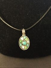 """Pendant Leather Cord Necklace 18""""-19"""" 925 Sterling Silver Turquoise Mop"""
