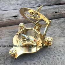 Handmade Solid Brass Working Sundial Compass Vintage Nautical Astrolabe Compass