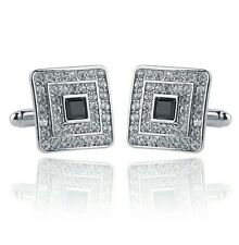 Silver and black square diamond Cufflinks UK Seller Brand New