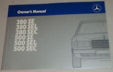 Betriebsanleitung / Owner's Manual Mercedes Benz W126 S-Klasse / Coupe von 1984