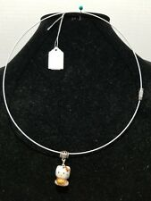 Porcelain Cat in Brown - Stainless Steel  Wire Choker Necklace       Z10