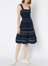 Sandro Navy Pointelle Knit Dress With Straps