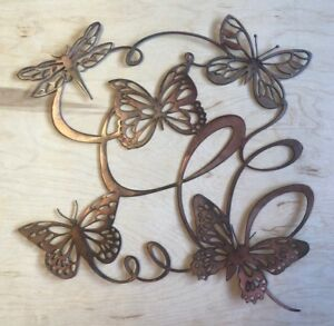 Butterfly Ribbon Wall Metal Art with Rustic Copper Finish Hanging