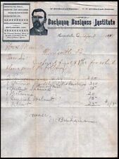 1891 Hopedale Ohio --  Buchanan Business Institute history Letter Head Rare