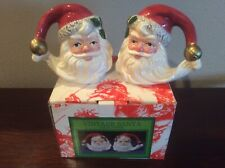 New Fitz And Floyd Omnibus Santa Face Salt And Peppers 1993