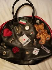 Vintage Moschino Patchwork Emblem Bowling Satchel handbag black leather ITALY