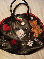Vintage Moschino Patchwork Emblem Bowling Satchel handbag black leather ITALY