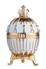 Decorative Faberge Egg Trinket Jewel Box Russian Emperor's Crown 3.3'' turquoise