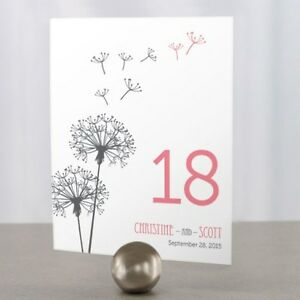 Personalized Dandelion Wishes Wedding Table Numbers