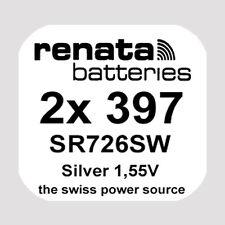 2x Renata 397 Uhren-Batterie Knopfzelle SR726SW AG2 Silberoxid Blisterware Neu