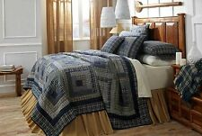 Columbus Queen Quilt by VHC Brands | Log Cabin Patchwork Pattern in Navy Blue