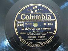 """CHARLES TRENET~RETOUR A PARIS/LE RETOUR DES SAISONS~78RPM~10""""~COLUMBIA~FRANCE~VG"""