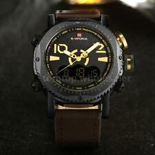 NAVIFORCE Men Sports Military Analog-Digital Quartz Fashion Leather Watch Army