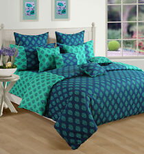 Swayam Truquoise and Blue Colour Ethnic Cotton 350 GSM Winter Quilt