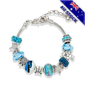 925Silver Plated Bohemian Starfish Turtle Blue Crystal Bead Bracelet Bangle Gift