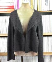 EILEEN FISHER cardigan linen chocolate open front knit draped chunky XL 14 US 10