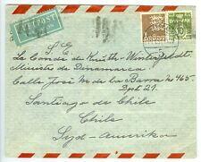 DENMARK: Airmail cover to Chile 1951, arr canc.